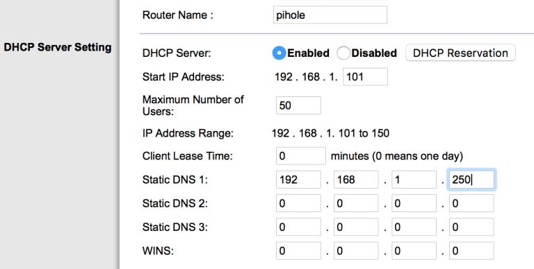 pihole router dns