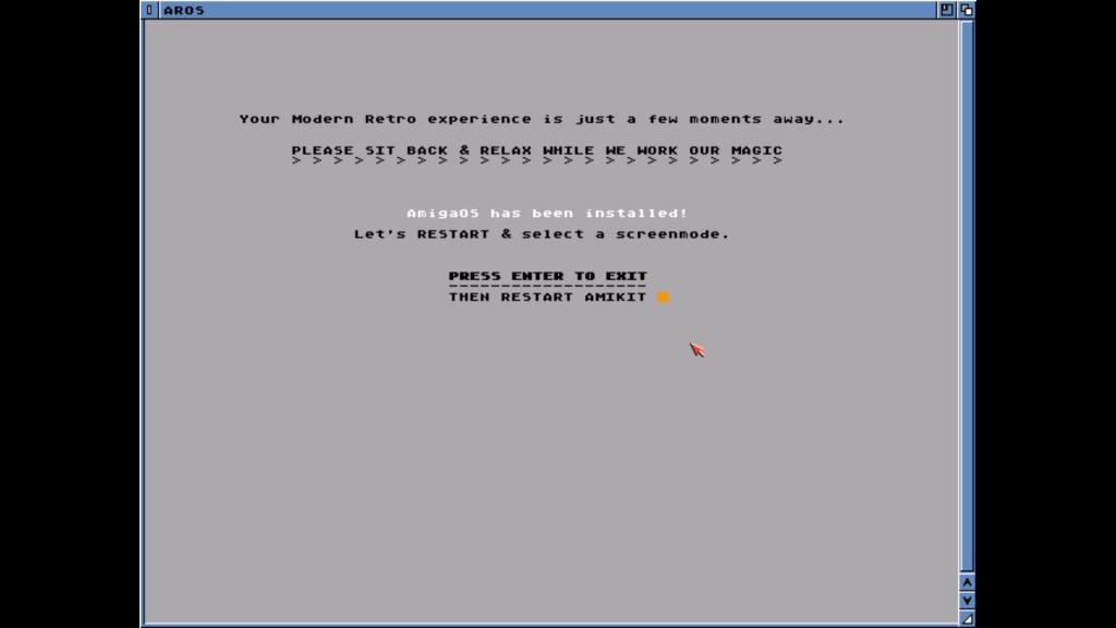 Amikit install restart